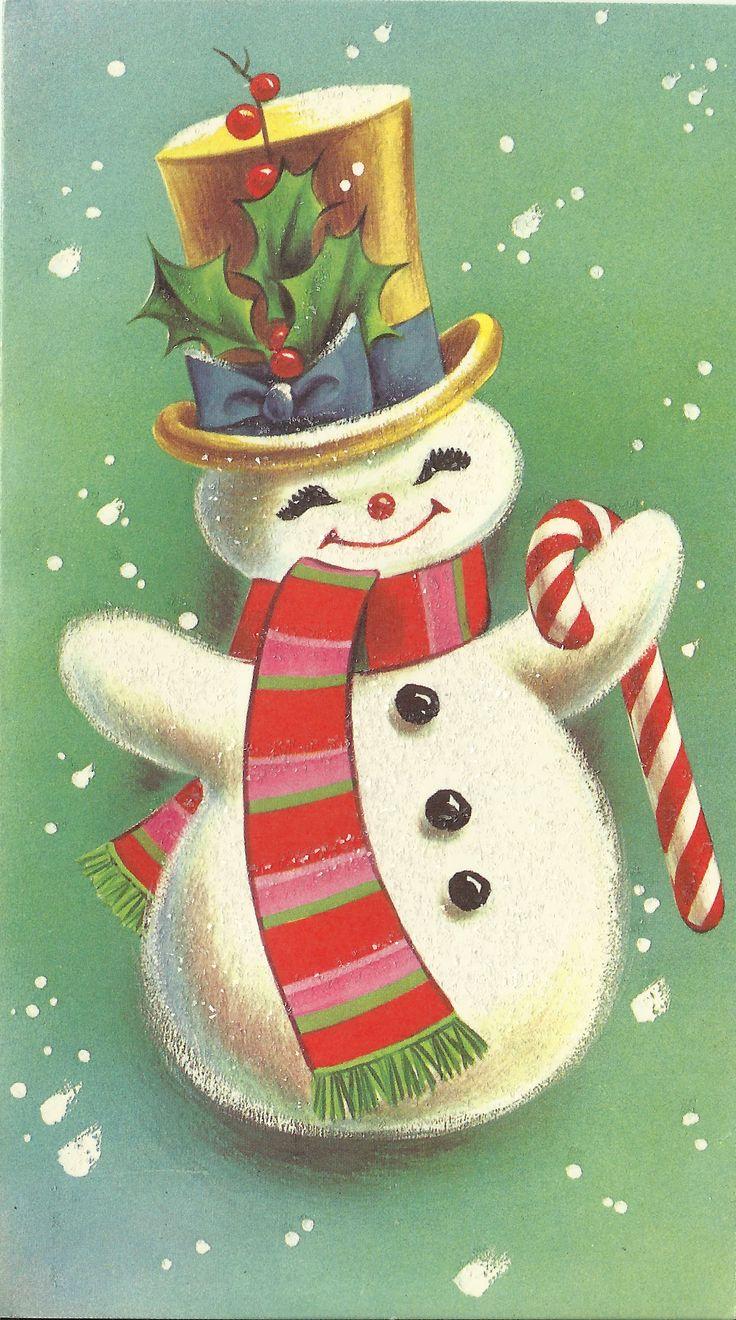 1968 Snowman Vintage Christmas Card Christmas Graphics 4 736x1320