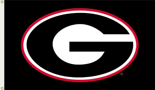 NCAA Georgia Bulldogs 3 by 5 Foot Flag G Logo with Black Background 500x292