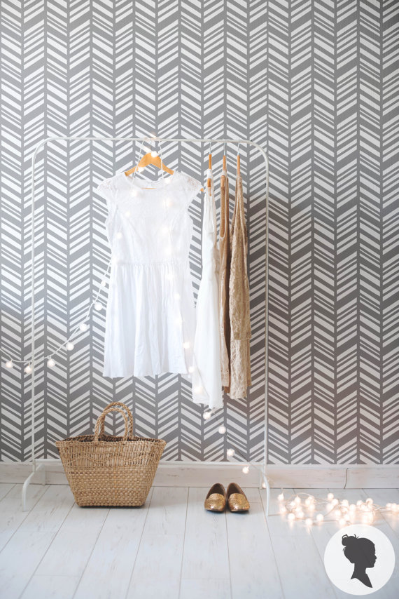 Self Adhesive Herringbone Pattern Removable Wallpaper by Livettes 570x854