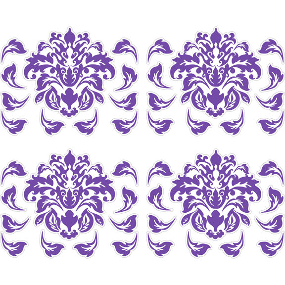Large Purple Damask Peel and Stick Decals   Wall Sticker Outlet 576x576