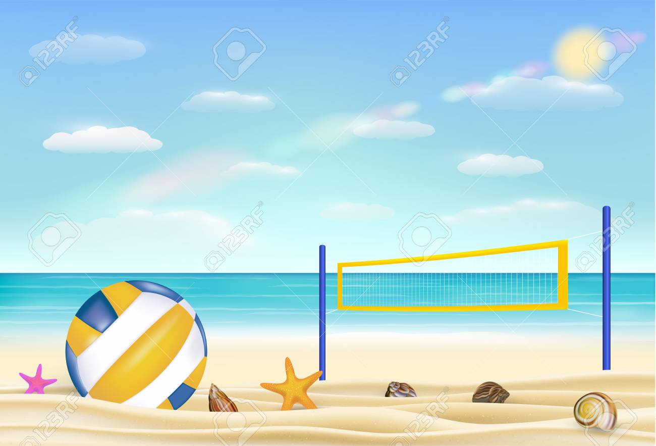 Beach Volleyball And Net On A Sand Beach With Bring Sea Sky 1300x883