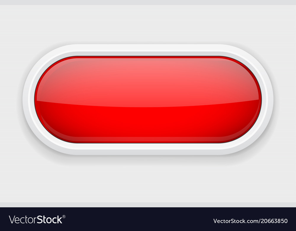 Red shiny oval button on white matted background Vector Image 1000x780