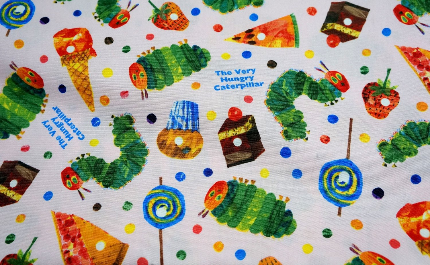 Very Hungry Caterpillar Fabric Half Meter Soft by beautifulwork 1500x925