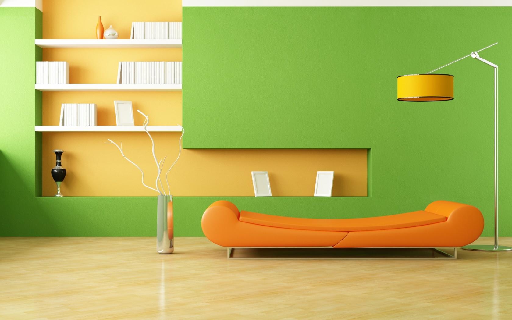 Green Orange Living Room 1680 x 1050 Download Close 1680x1050