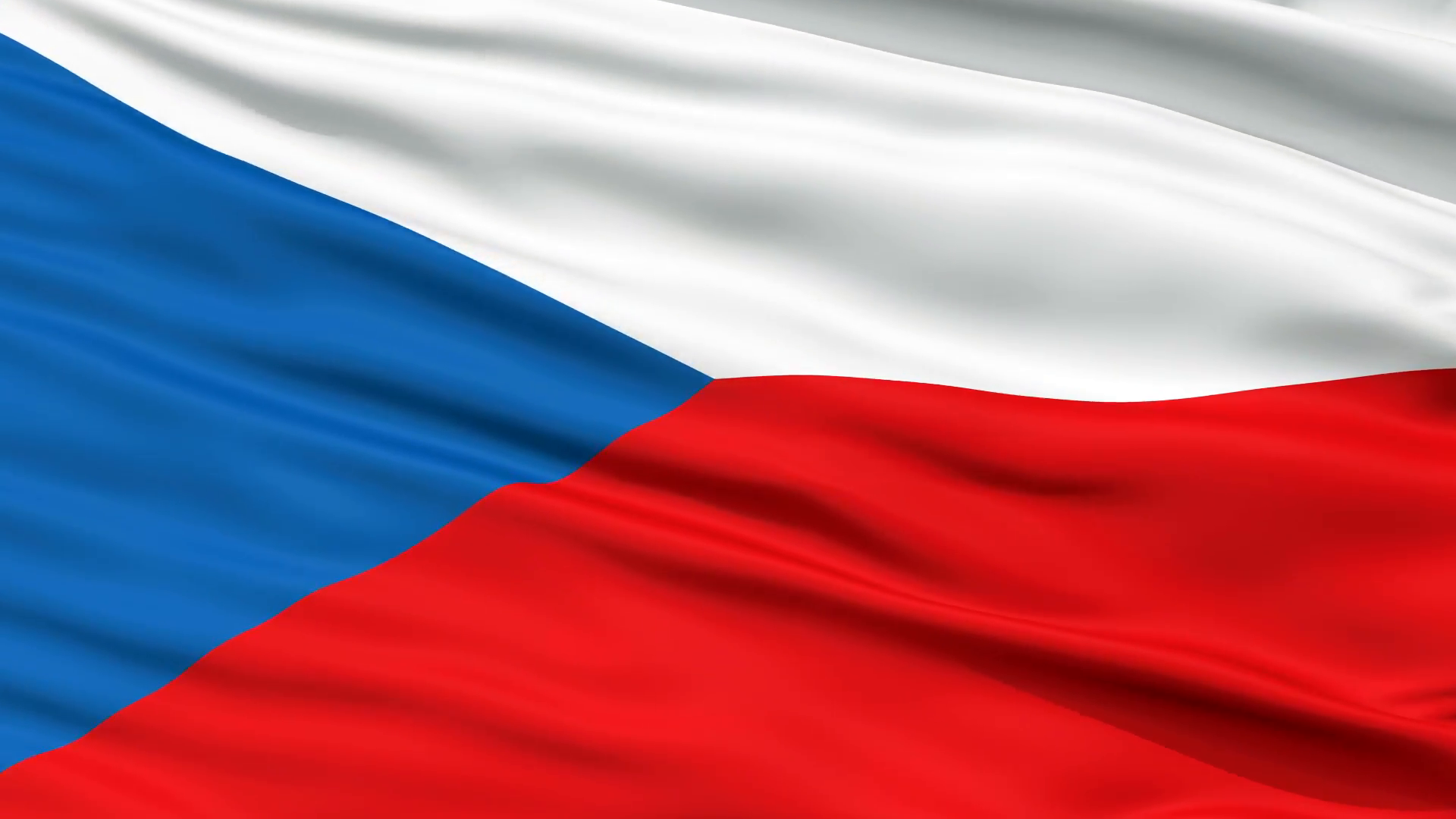 Czech Republic Flag Close Up Realistic Animation Seamless Loop 1920x1080