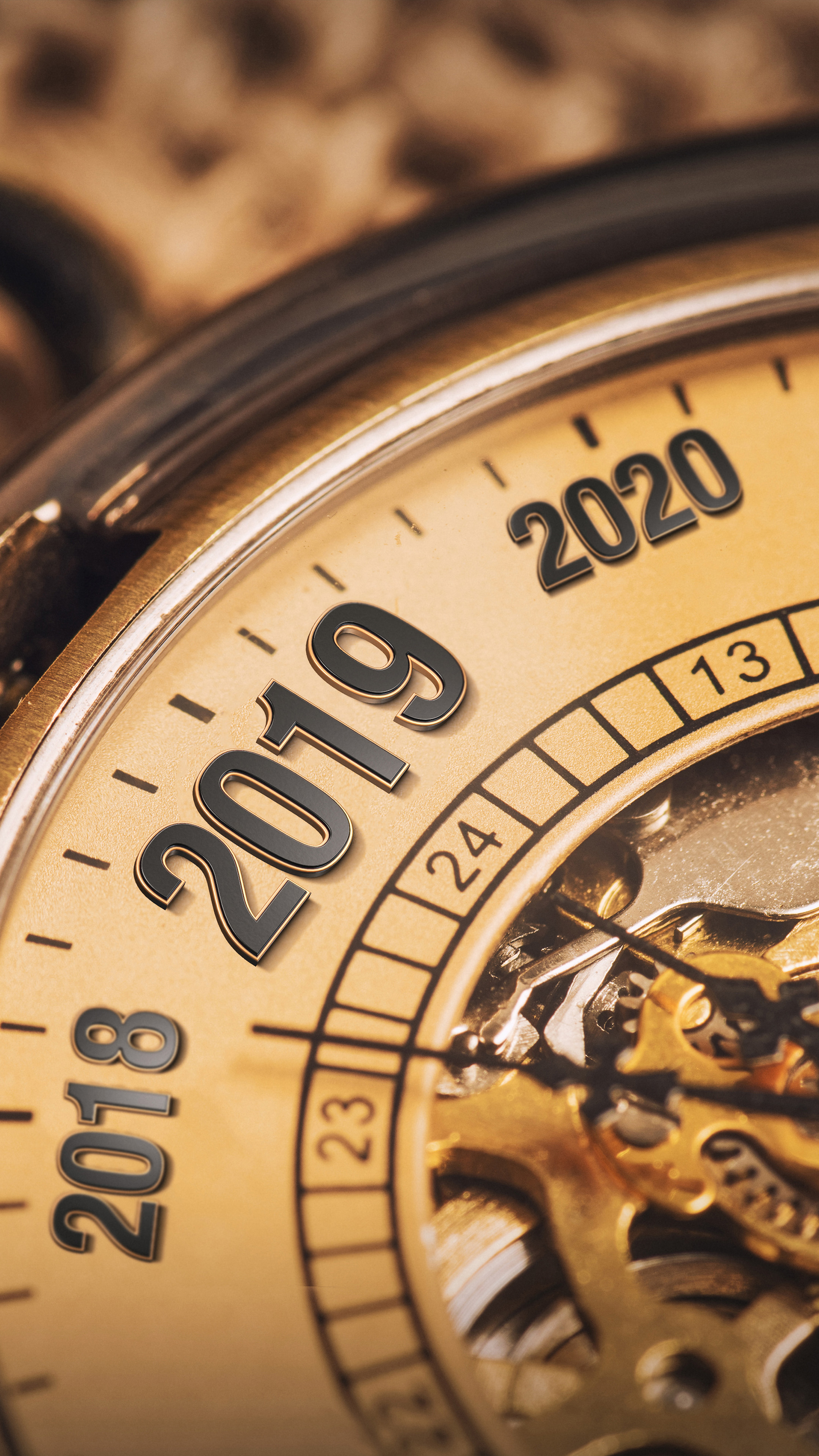 New Year 2019 Clock 4k Ultra Hd Mobile Wallpaper   New Year 2019 2160x3840