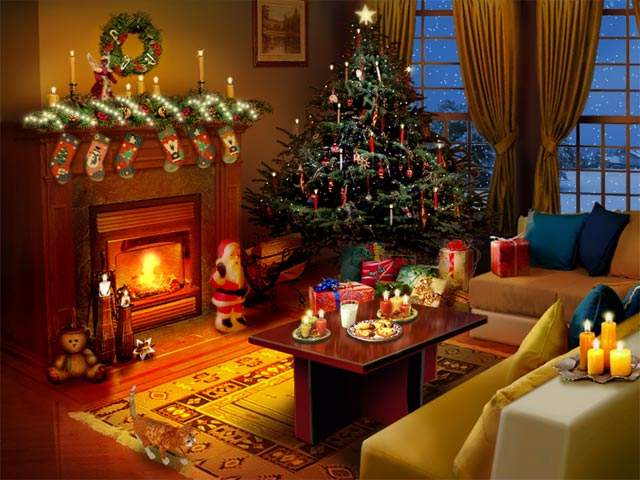 Christmas Fireplace Desktop Wallpapers Christmas Fireplace Pictures 640x480