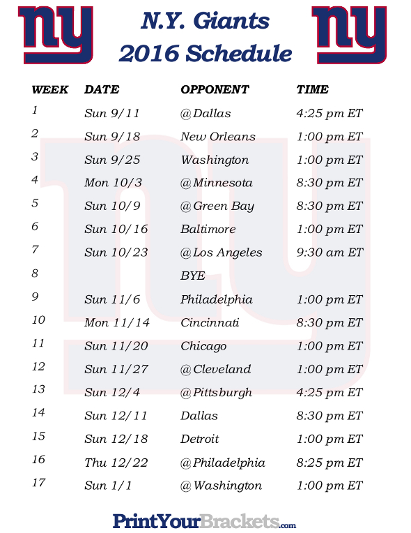 photograph relating to Ny Giants Printable Schedule named Free of charge down load fresh york giants printable timetable 2014 2015