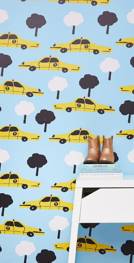 kid loves NYC or just loves cars this taxi peel and stick wallpaper 523x1024