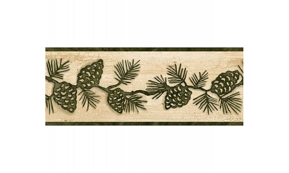 Home Beige and Green Lodge Pinecones Wallpaper Border 1000x600