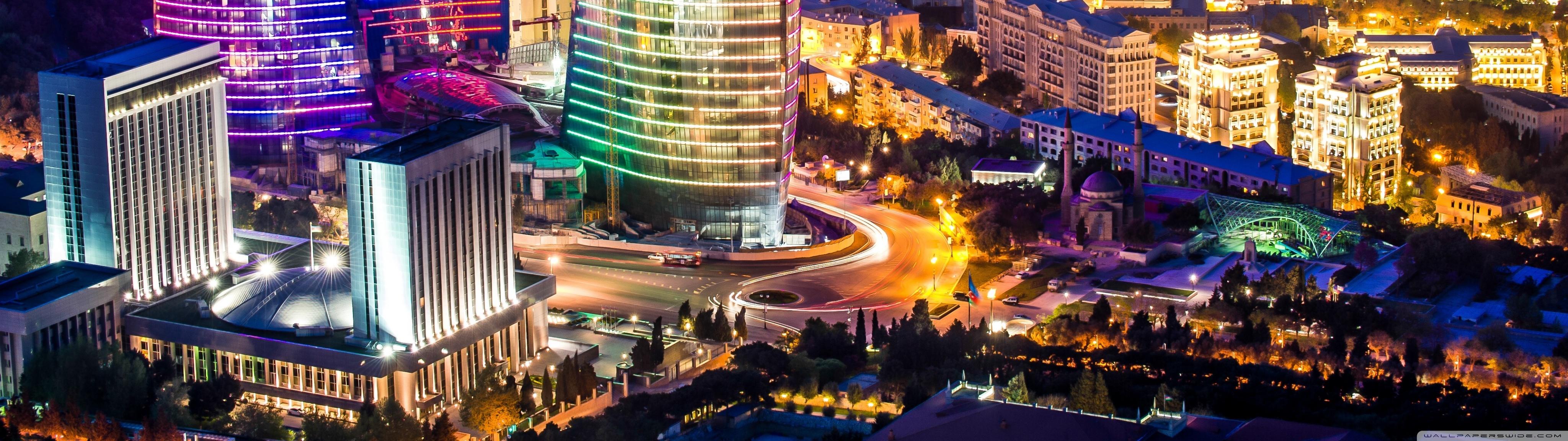 Flame Towers Baku Azerbaijan 4K HD Desktop Wallpaper for 4096x1152