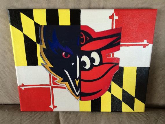 Maryland Flag with split OrioleRaven Bird by EastCoastCanvas 570x428
