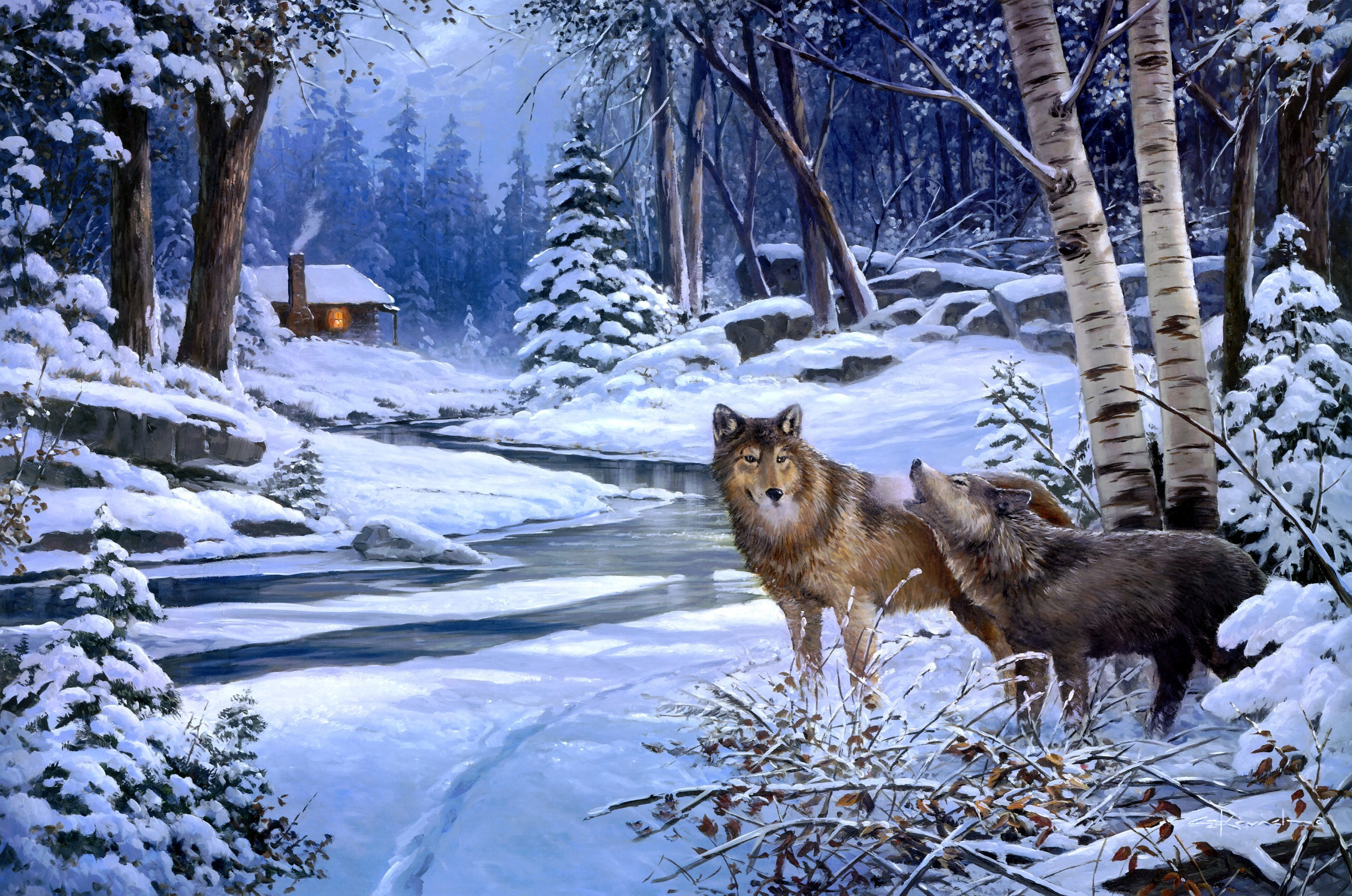 George kovach return to cabin creek painting animals wolf wolves 2580x1710