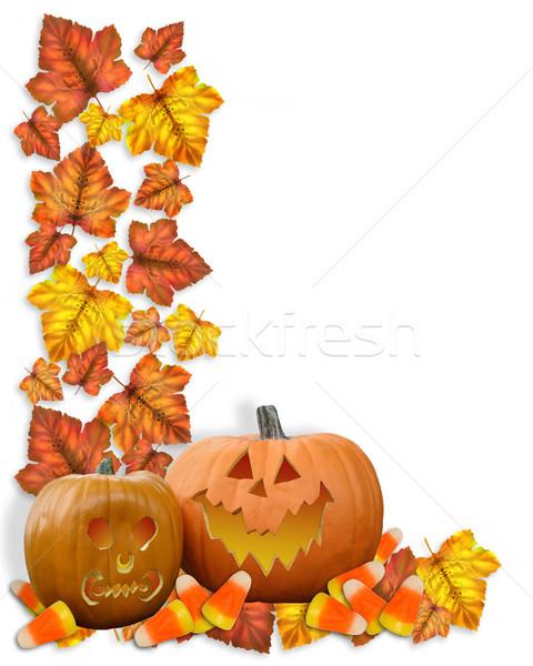 Halloween Border pumpkins and leaves stock photo Irisangel 568195 480x600