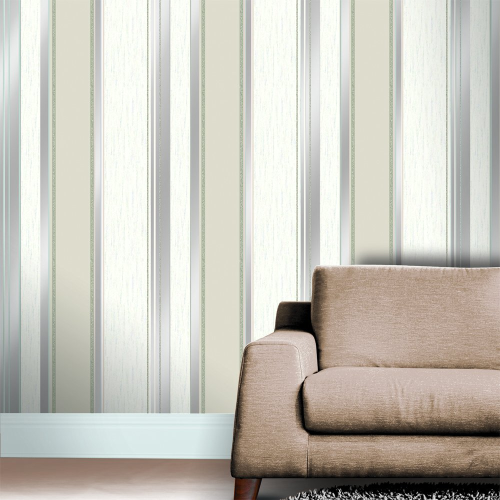 Synergy Striped Designer Feature Wallpaper Taupe Cream Silver 1000x1000