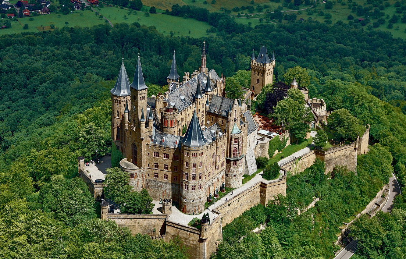 Wallpaper trees castle Germany Hohenzollern Hohenzollern 1332x850