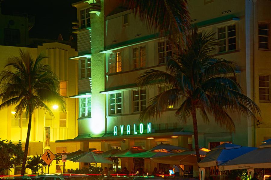 Avalon Hotel At Night Ocean Boulevard Miami Beach Florida Photograph 900x600