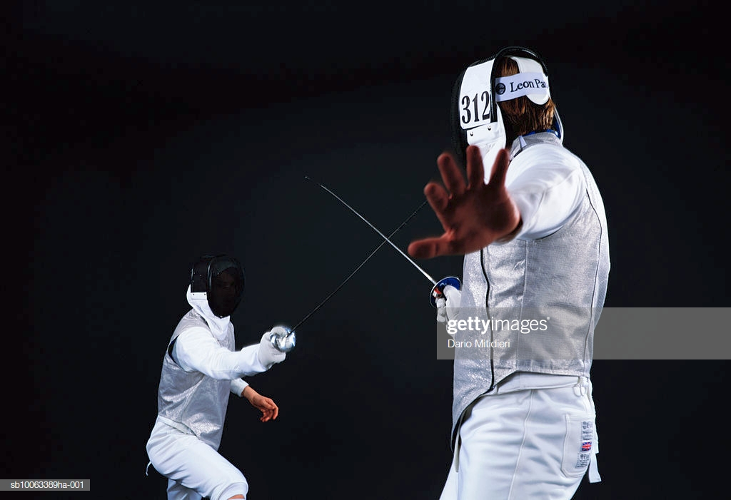 Two Men Fencing Black Background Stock Photo   Getty Images 1024x701