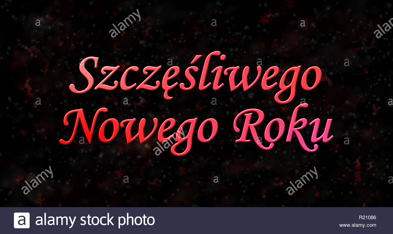 Happy New Year text in Polish Szczesliwego Nowego Roku on black 1300x775