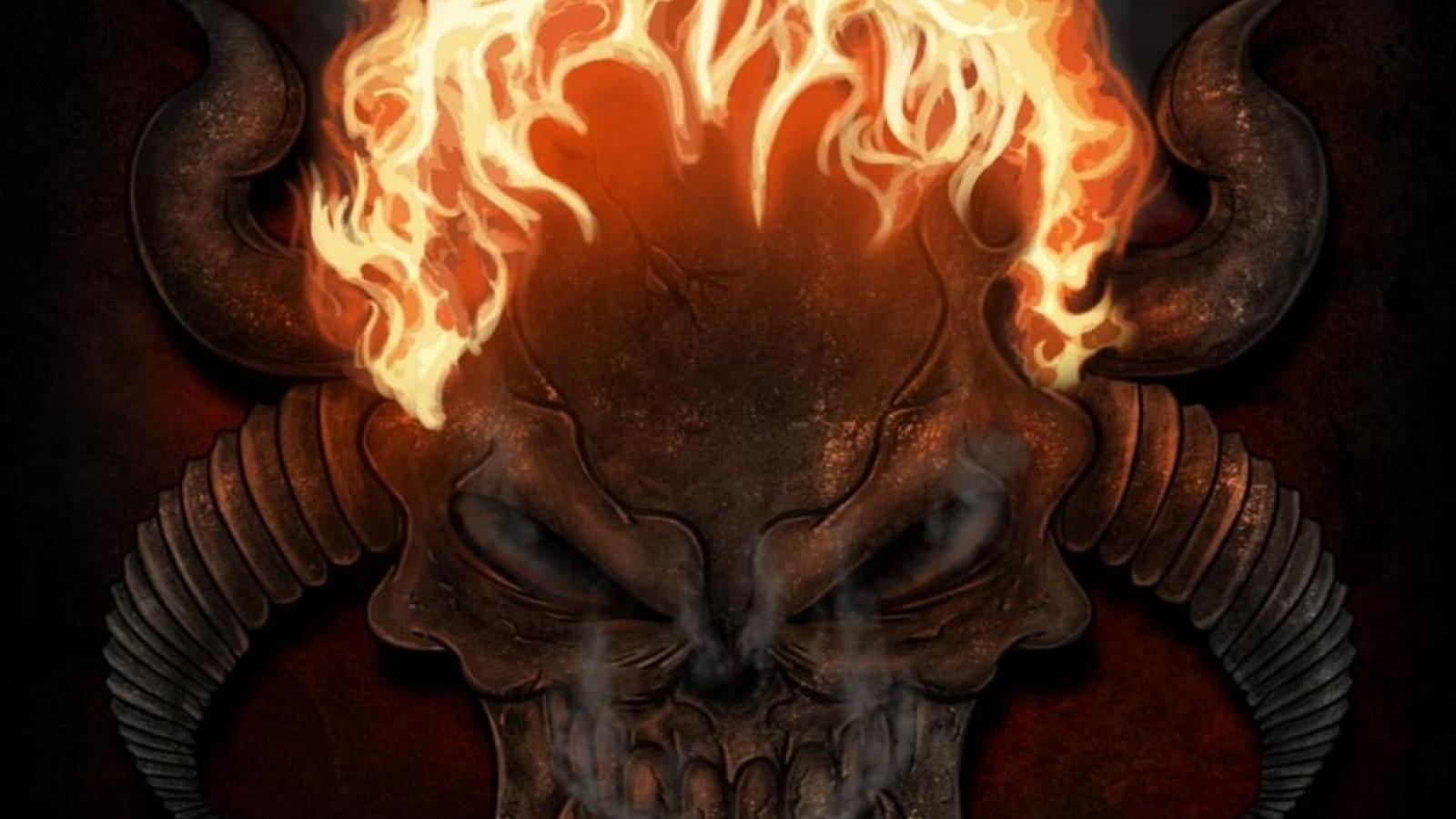 Skulls on fire wallpaper wallpapersafari - Devil skull wallpaper ...
