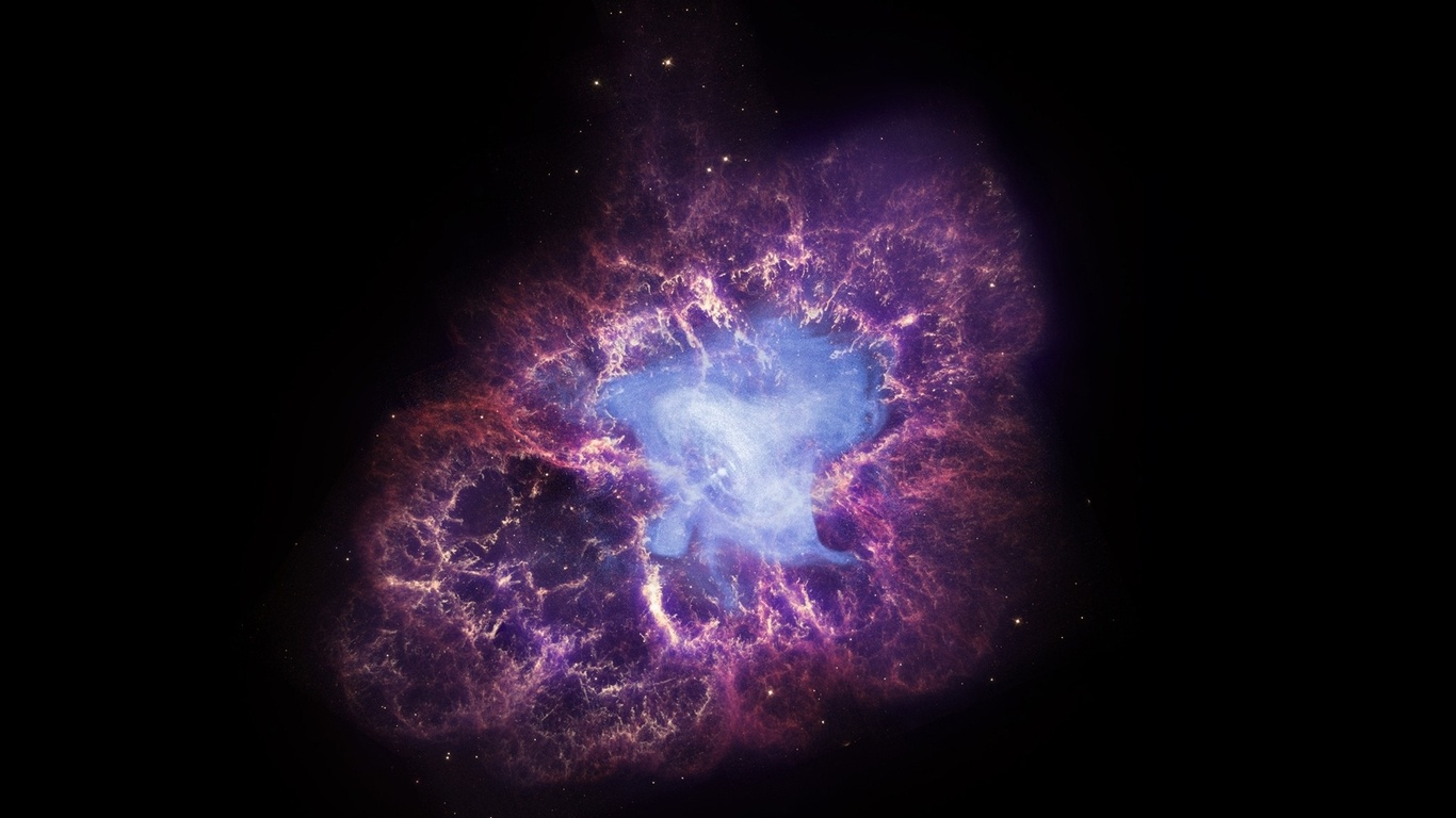 Space wallpapers the Crab nebula crab nebula stars darkness Space 1366x768