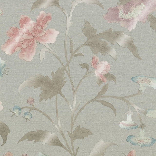 Greene China Rose French Grey Lustre Wallpaper traditional wallpaper 640x640