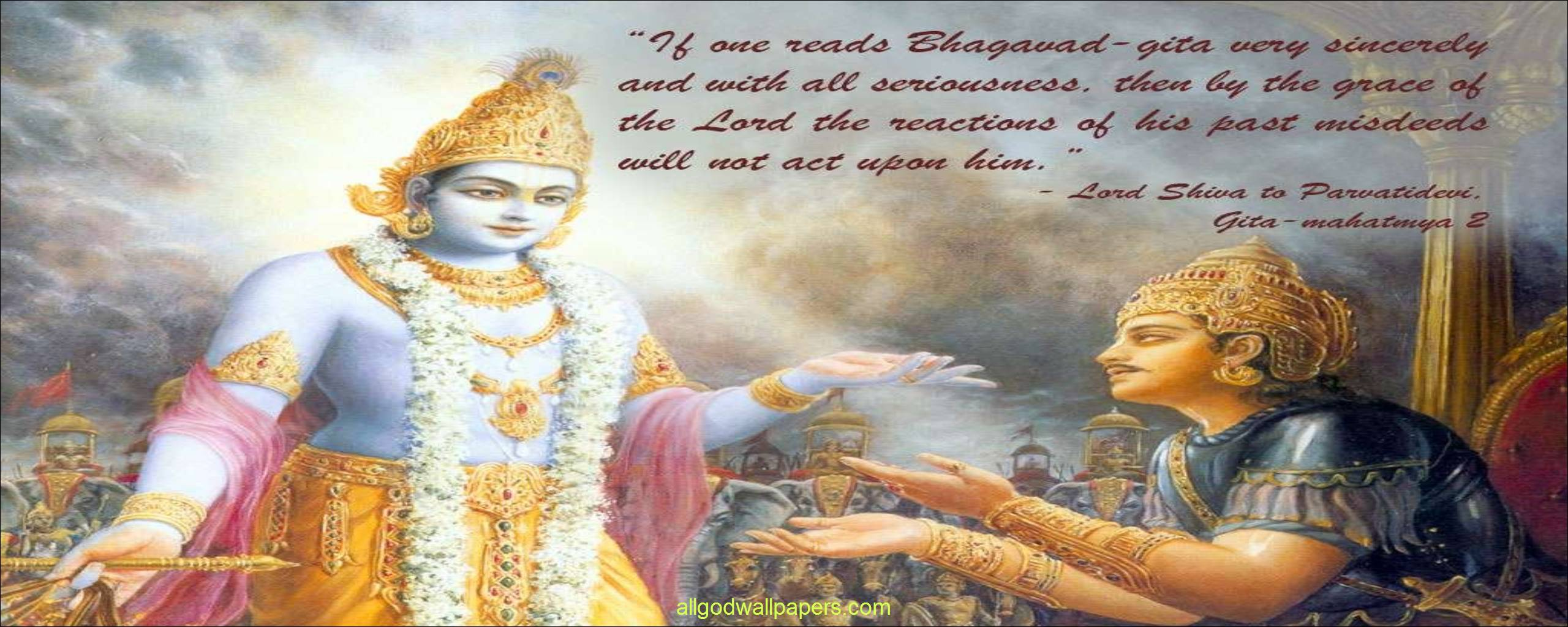 Bhagavad Gita Wallpaper 2560x1024