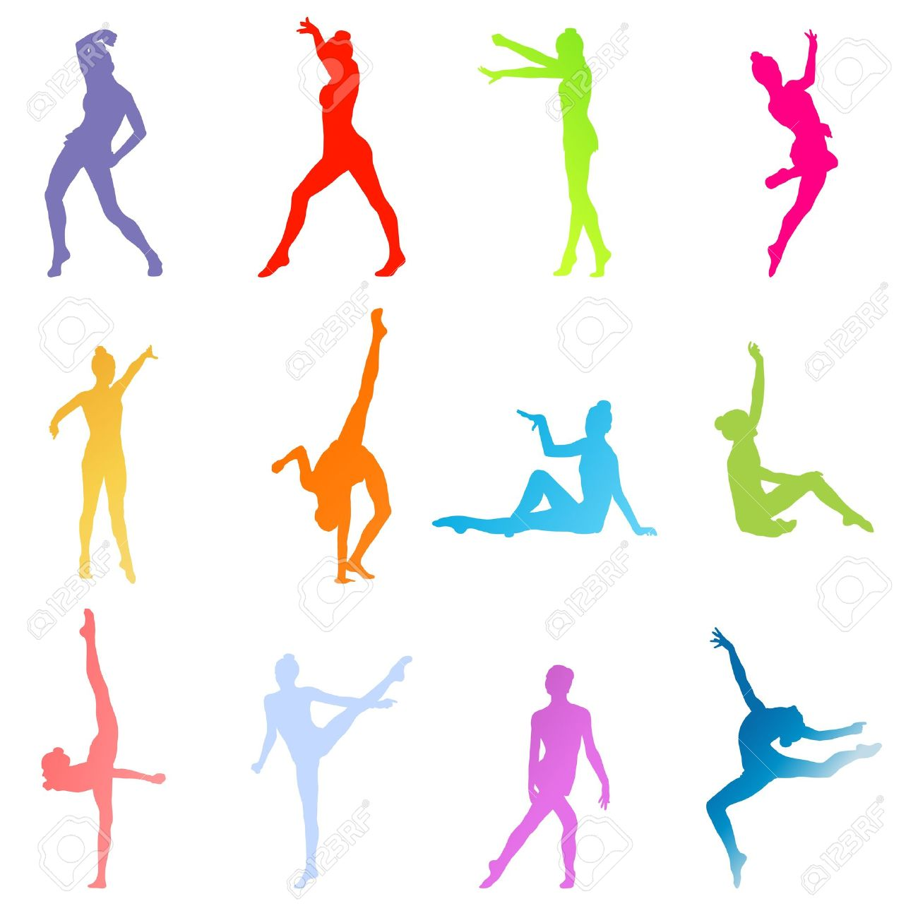 Gymnasts On A White Background Vector Royalty Cliparts 1300x1300