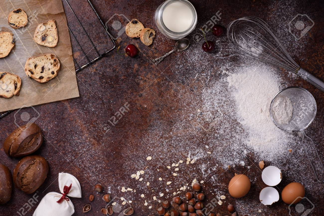 Bakery Background Baking Ingredients Over Rustic Kitchen 1300x867