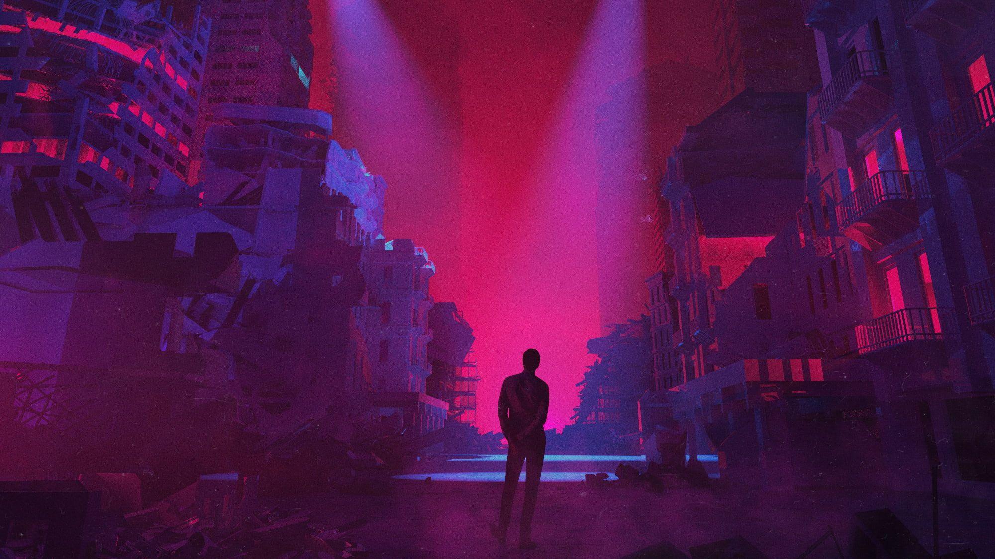artwork digital art neon building dystopian 1080P wallpaper 2000x1125
