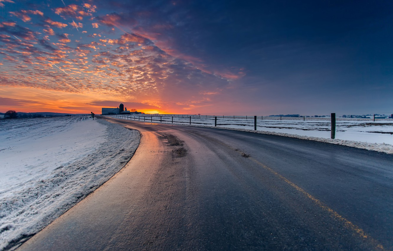 Wallpaper winter road the sky clouds snow landscape sunset 1332x850
