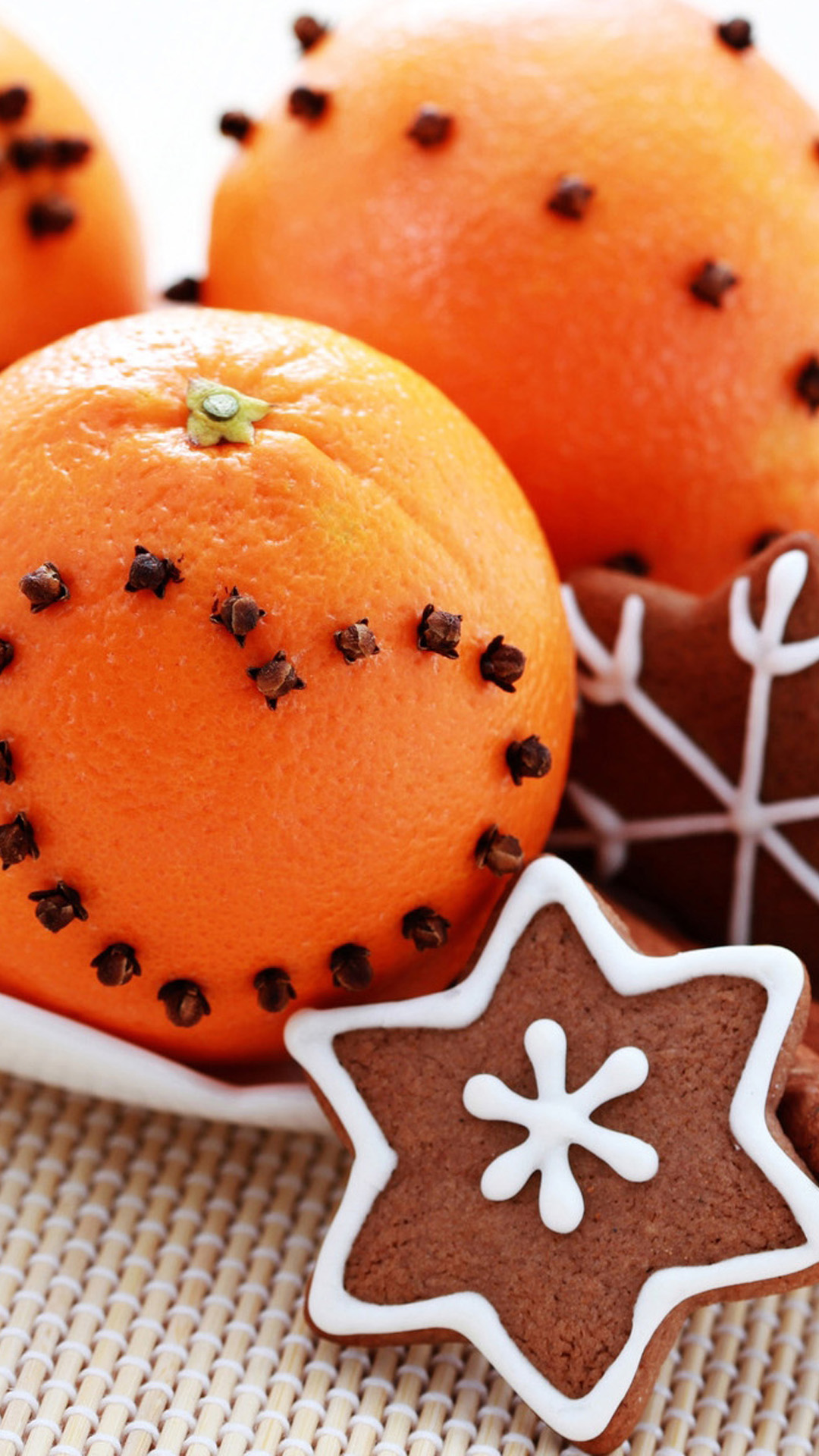 Oranges Gingerbread Christmas Food Android Wallpaper 1080x1920