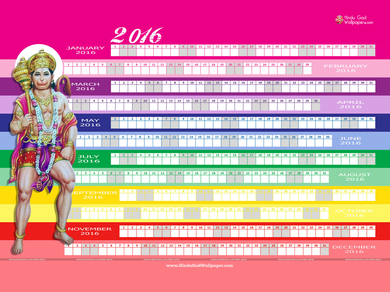 Desktop Wallpaper Calendar 2016 Download 1600x1200