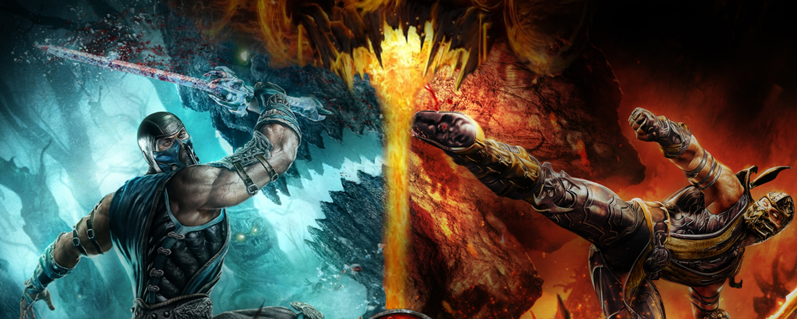 Cold Fire Dragon Game Wallpaper Background Dual Monitor Resolution 2560x1024