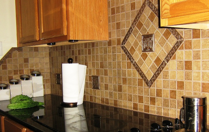 New back splash in kitchen and bar area with diagonal and raised tile 708x446