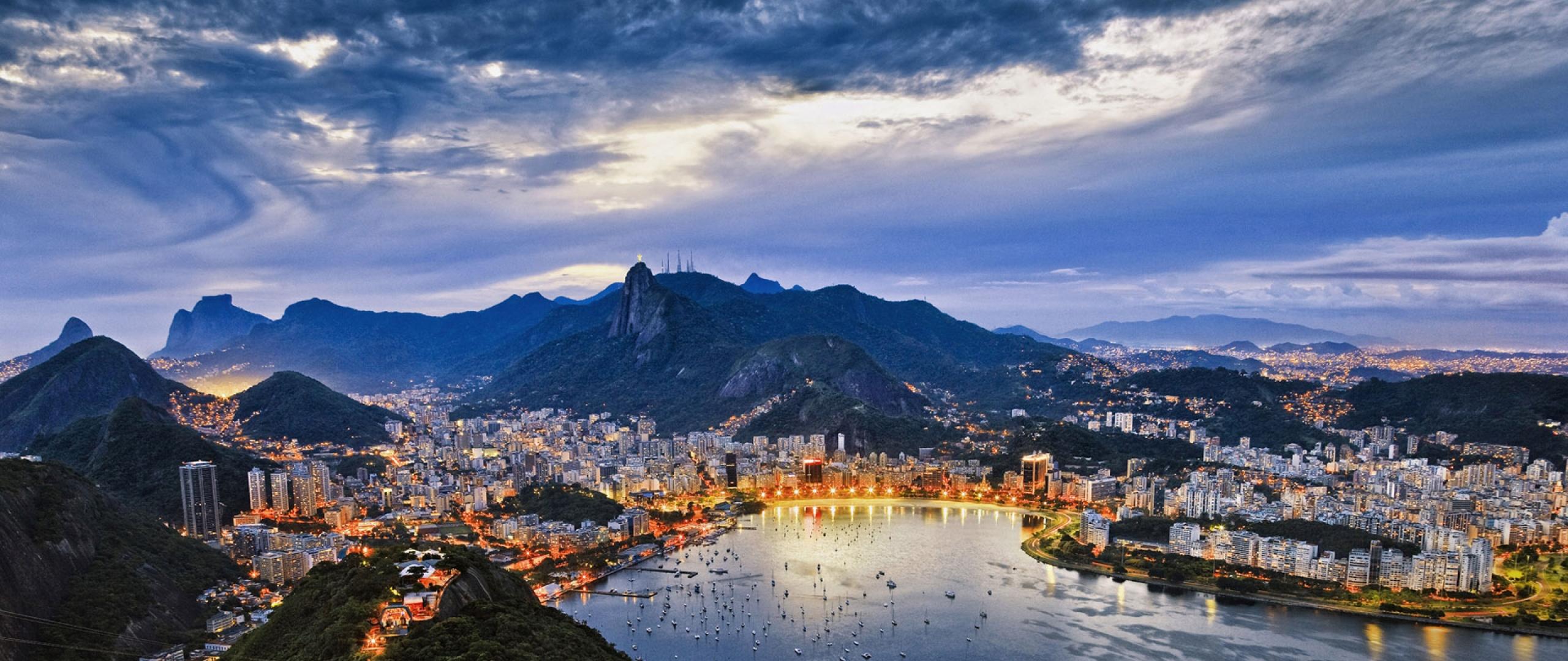 2560x1080 Wallpaper brazil rio de janeiro guanabara bay city 2560x1080