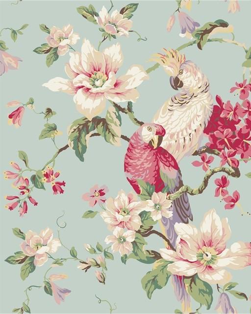 Tropical Birds and Magnolias Wallpaper   Eclectic   Wallpaper 512x640