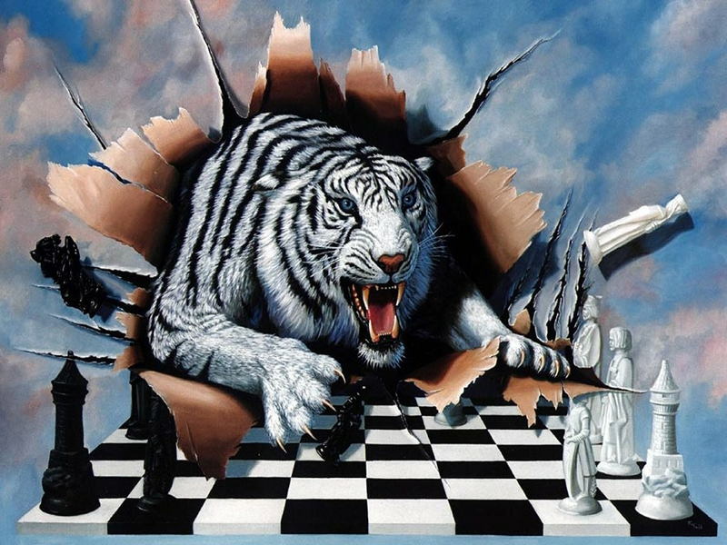 Cool chess wallpapers wallpapersafari chess tiger tiger chess abstract fantasy hd desktop wallpaper voltagebd Choice Image