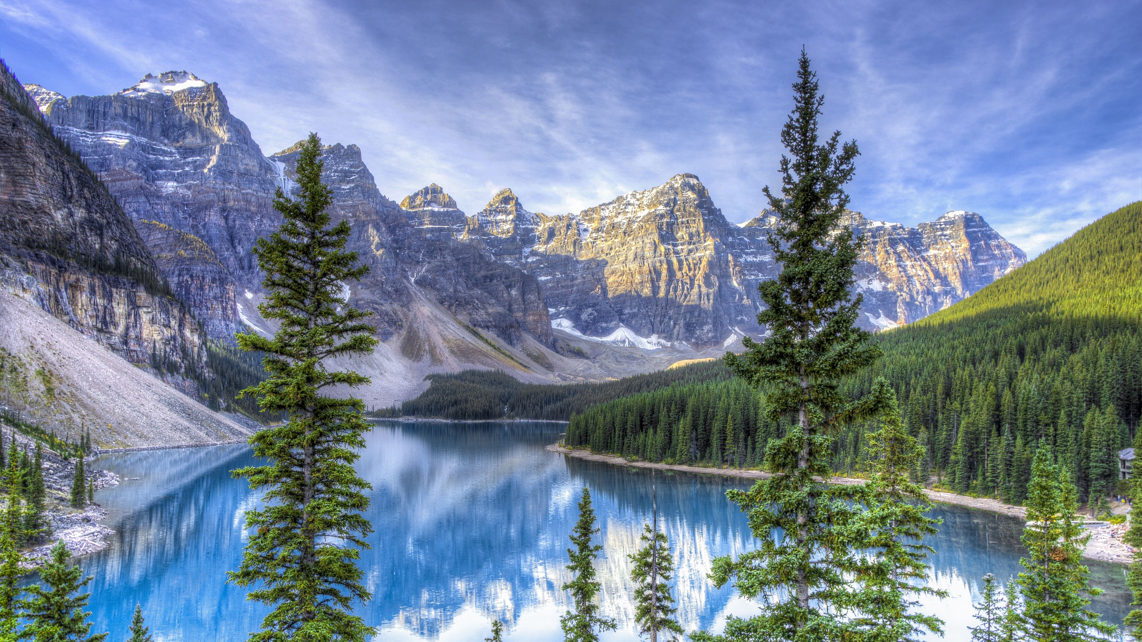 3840x2160 Moraine lake Alberta Canada Hdr Wallpaper Background 4K 3840x2160