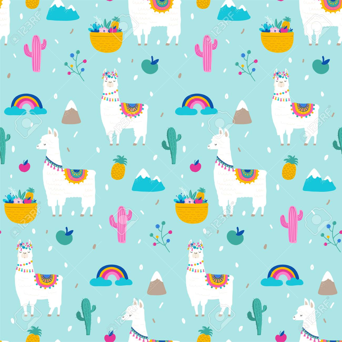 Llama Alpaca Cactuses And Leaves Seamless Pattern Background 1300x1300