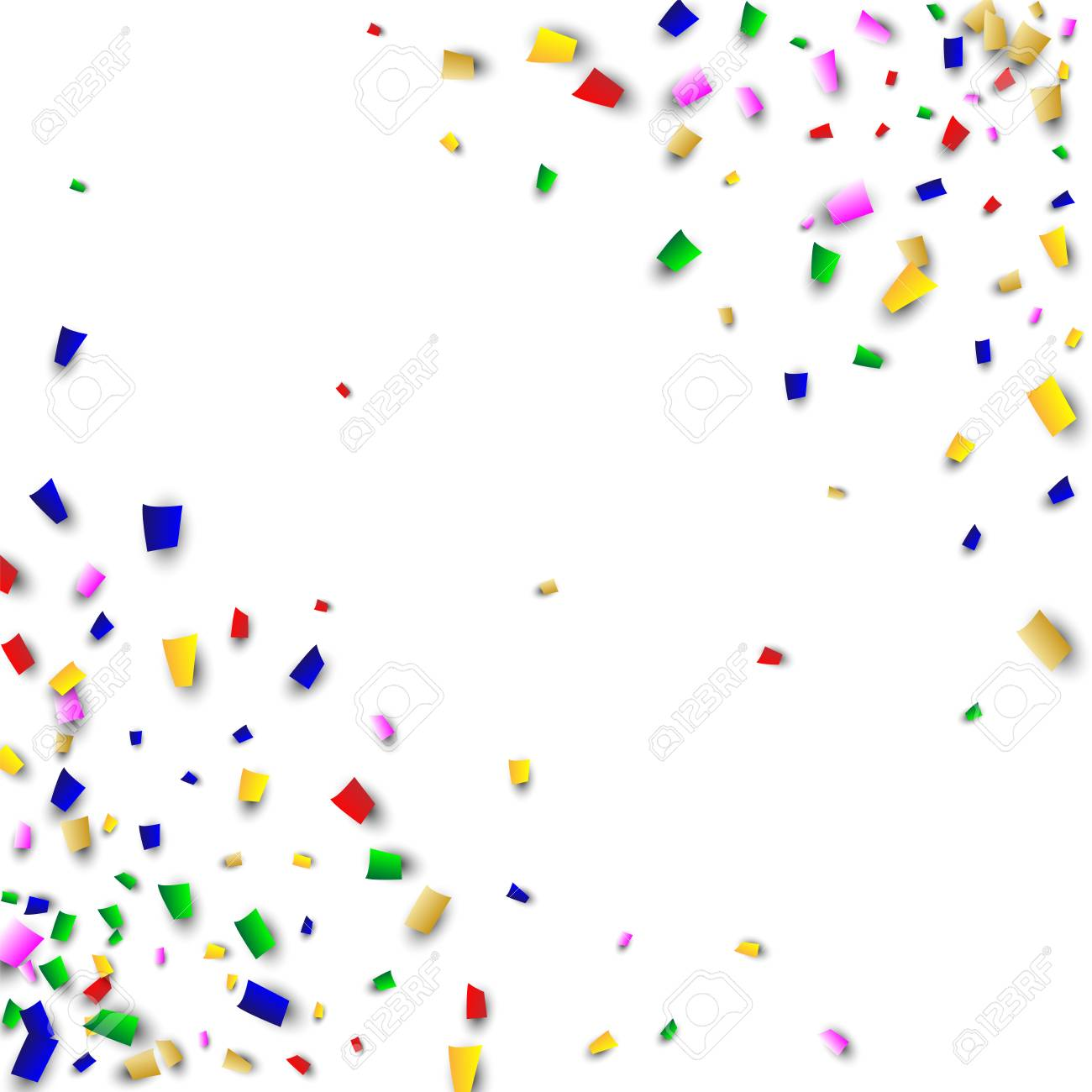 Colorful Celebration Confetti Scattered On White Background 1300x1300