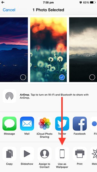 How to change the wallpaper on your iPhone or iPad using the Photos 320x569