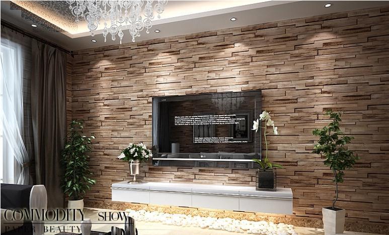 Luxury Wood Blocks Effect Brown Stone Brick 10M Vinyl Wallpaper Roll 773x468