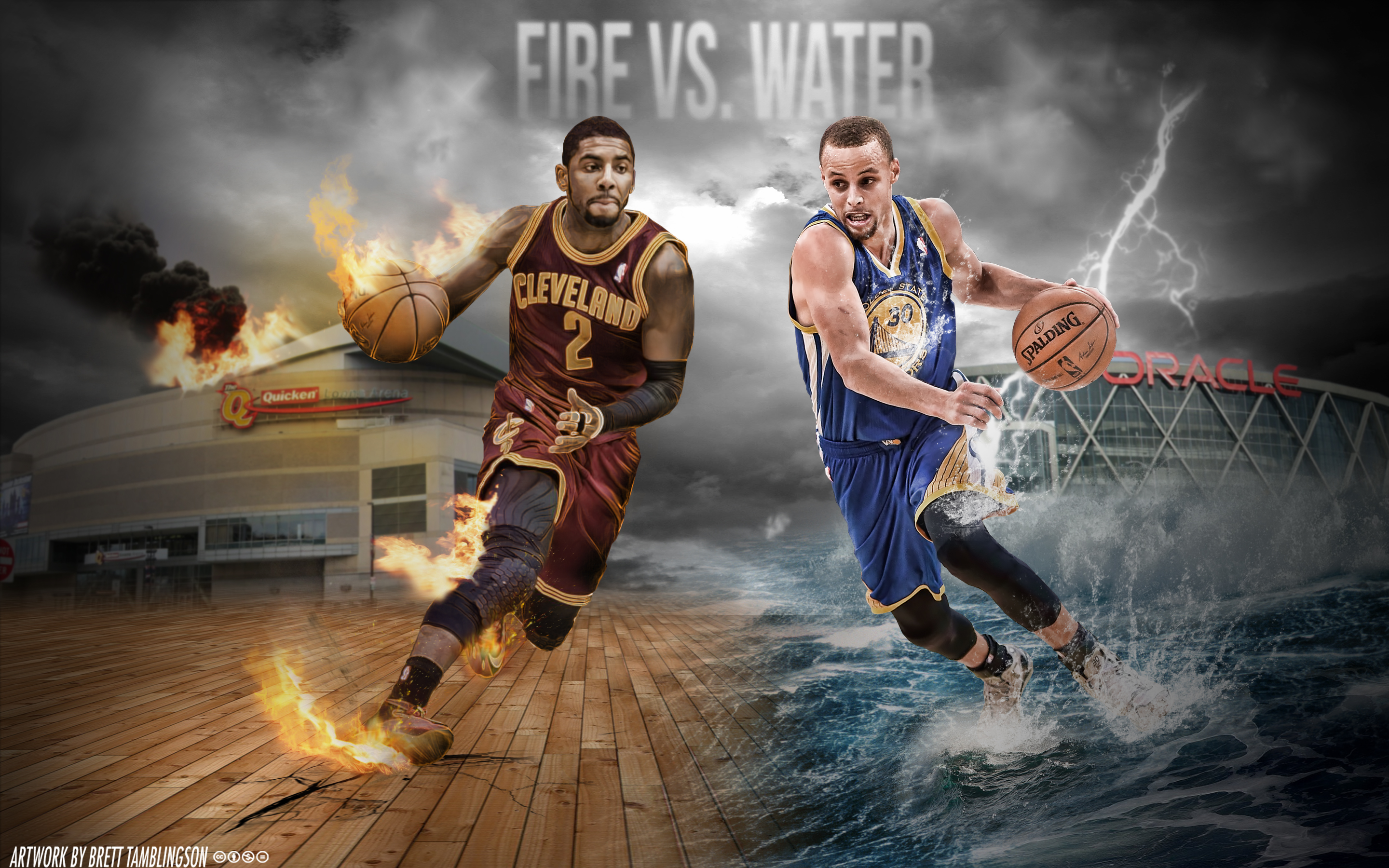 Kyrie Irving Stephen Curry Fire vs Water 2880x1800