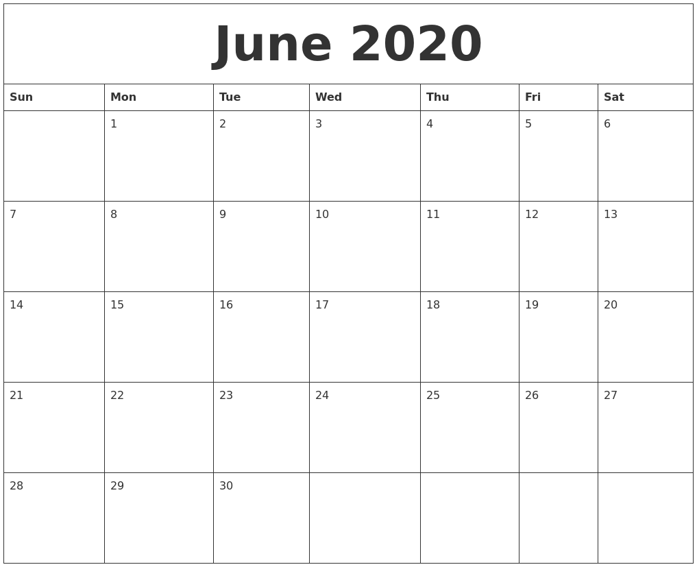 June 2020 Calendar PDF Word Excel Printable Template 1017x827
