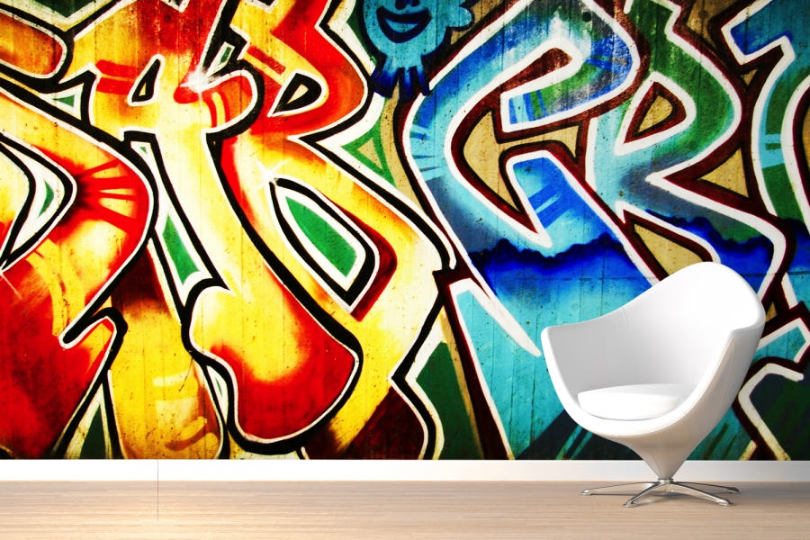 Simple Colourful Abstract Graffiti Wallpaper Room 900x600