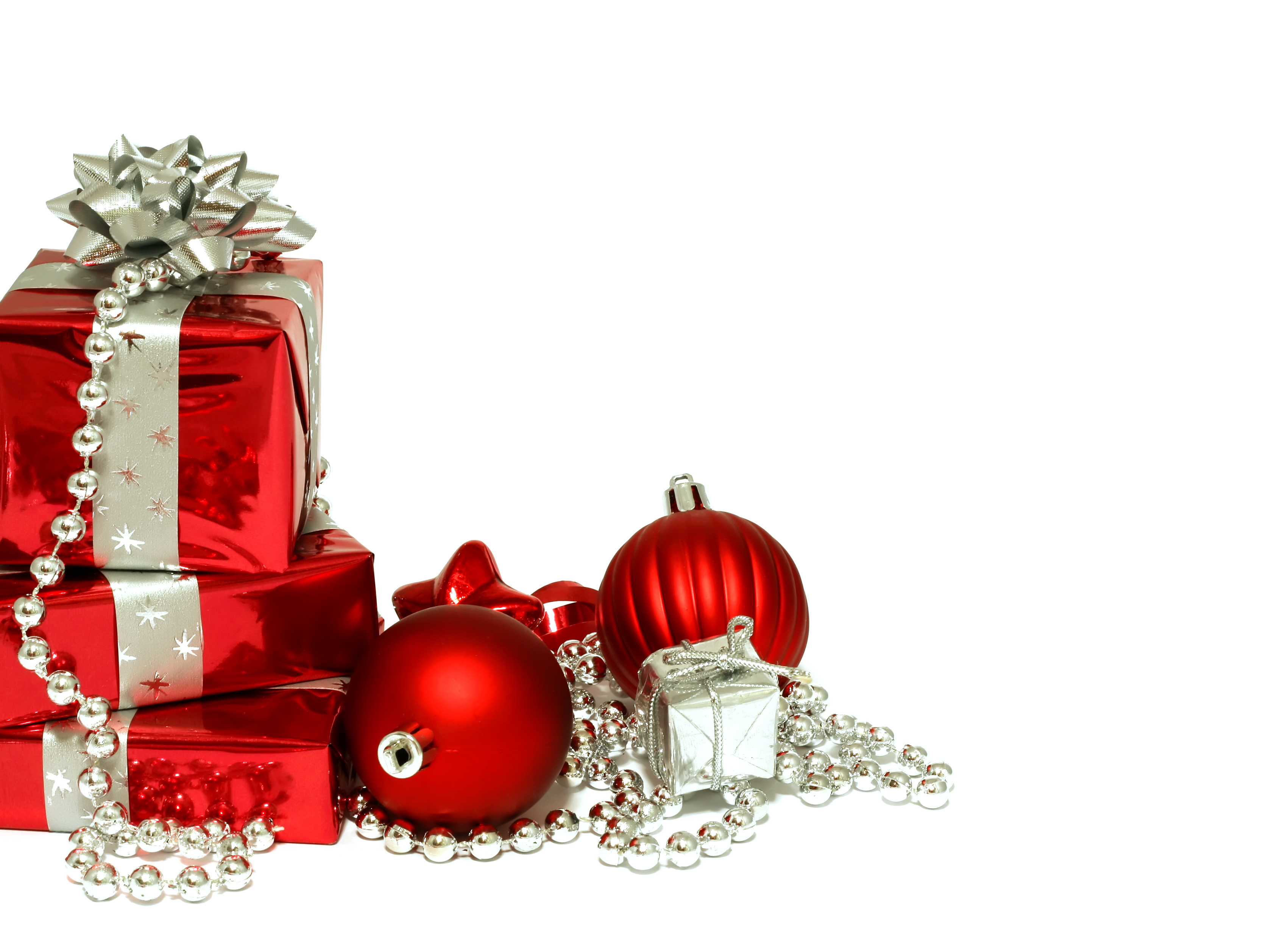 Christmas wallpapers Red Christmas decorations and gifts on Christmas 3402x2454