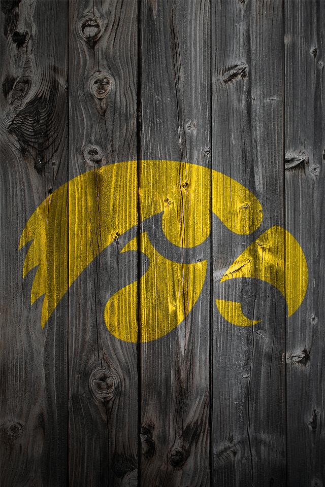 Iowa Hawkeyes Logo on Wood Background   iPhone 4 wallpaper 640x960