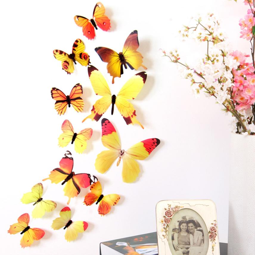 Decal Wall Stickers Home Decorations 3D Butterfly Rainbow PVC 856x856