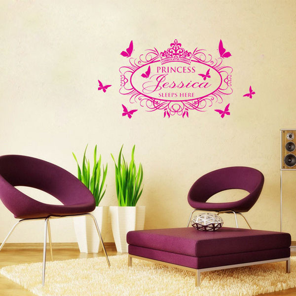 In The Princess And Crown Walls Decals Sticker Removable Wallpaper 600x600